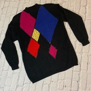 Vintage 80's Geometric Sequin Color Block Sweater